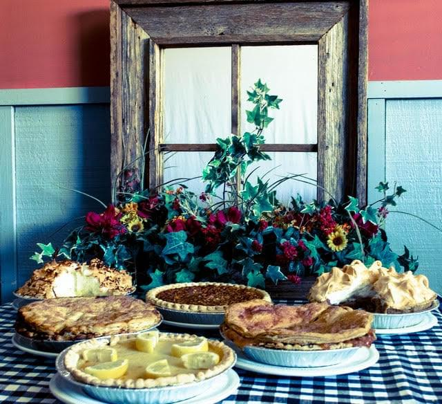 Homemade pies in front of a window